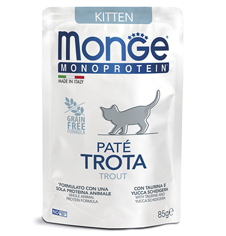 Monge Monoprotein Kitten Trout / Влажный корм Паучи Монж для Котят Треска (цена за упаковку)