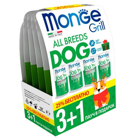 Monge Dog Grill Lamb / Новогодний набор Влажный корм Паучи Монж Гриль для взрослых собак Ягненок с Овощами (цена за упаковку)