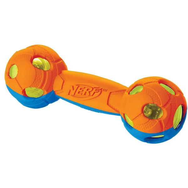 Nerf Dog / Игрушка Нёрф Дог для собак Гантель двухцветная Светящаяся