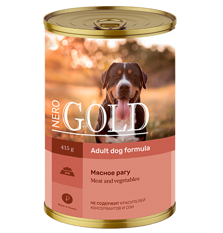 NERO GOLD Adult Meat and vegetables / Консервы Неро Голд для собак Мясное рагу (цена за упаковку)