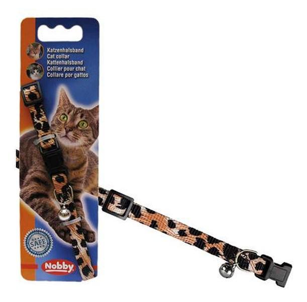 Nobby / Ошейник Ноби для кошек Леопард с безопасным замком и бубенчиком