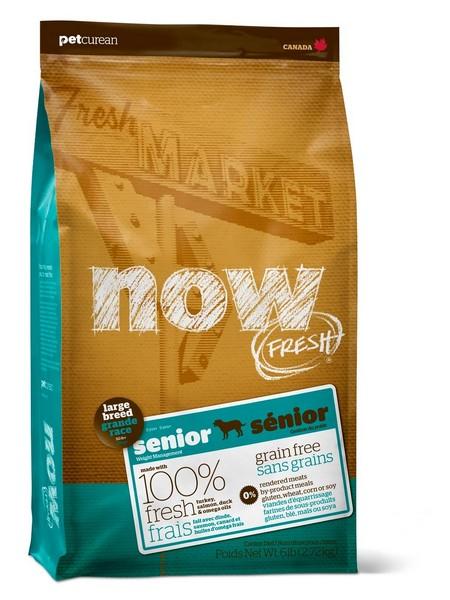 NOW Natural holistic Fresh Senior Large Breed Recipe Grain Free 25/11 / Сухой корм Нау Фреш Беззерновой Контроль веса для Пожилых и Взрослых собак Крупных пород с Избыточным весом Индейка Утка Овощи