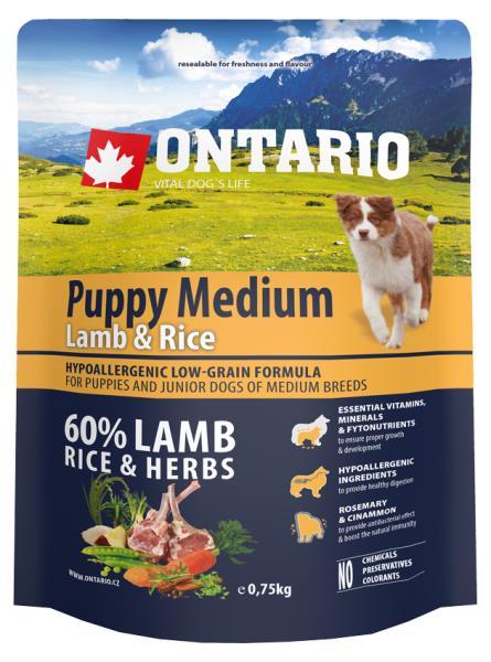 Ontario Puppy Medium Lamb & Rice / Сухой корм Онтарио для Щенков Средних пород с Ягненком и рисом