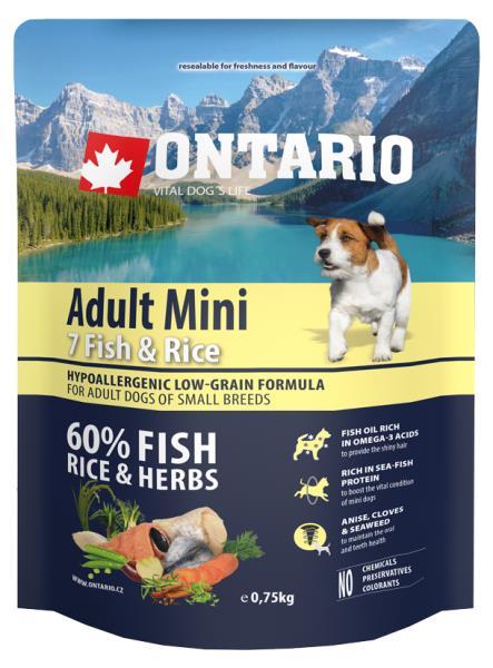 Ontario Adult Mini 7 Fish & Rice / Сухой корм Онтарио для взрослых собак Мелких пород 7 видов рыб и рис