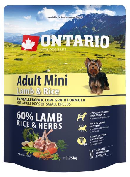 Ontario Adult Mini Lamb & Rice & Rice / Сухой корм Онтарио для взрослых собак Мелких пород с Ягненком и рисом