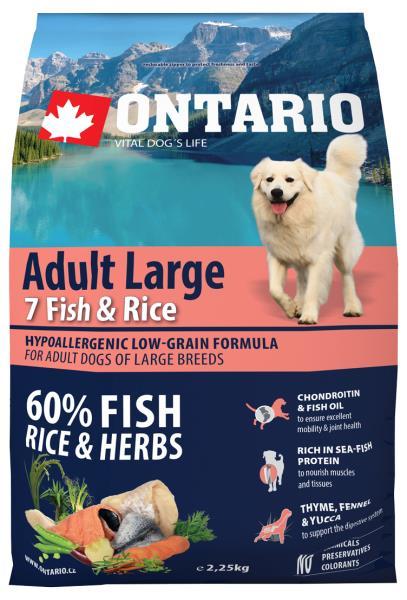Ontario Adult Large 7 Fish & Rice / Сухой корм Онтарио для взрослых собак Крупных пород 7 видов рыб и рис