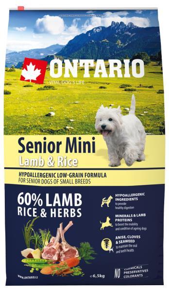 Ontario Senior Mini Lamb & Rice / Сухой корм Онтарио для Пожилых собак Мелких пород с Ягненком и рисом