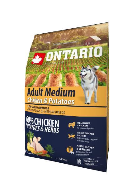 Ontario Medium Chicken & Potatoes / Сухой корм Онтарио для взрослых собак Средних пород с Курицей и картофелем