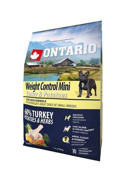 Ontario Adult Mini Weight Control Turkey & Potatoes / Сухой корм Онтарио для взрослых собак Мелких пород Контроль веса с Индейкой и картофелем