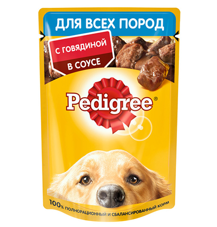 Pedigree / Паучи Педигри для взрослых собак всех пород с Говядиной в соусе (цена за упаковку)