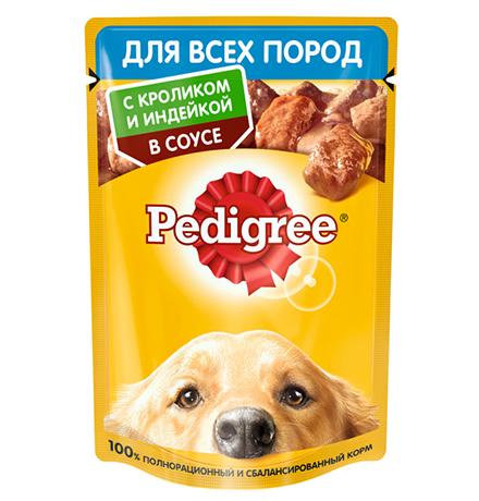 Pedigree / Паучи Педигри для взрослых собак всех пород с Кроликом и Индейкой в соусе (цена за упаковку)