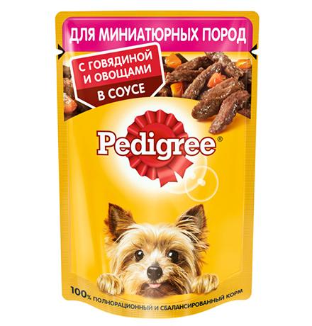 Pedigree / Паучи Педигри для взрослых cобак Миниатюрных пород с Говядиной и овощами в соусе (цена за упаковку)