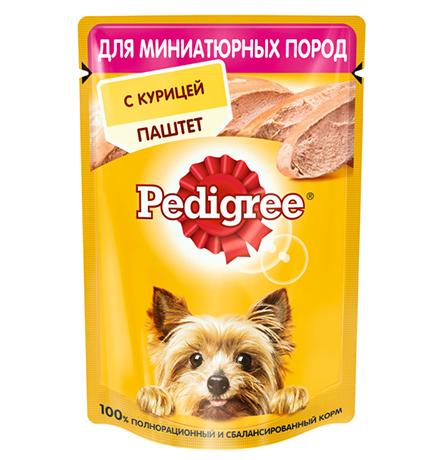 Pedigree / Паучи Педигри для взрослых собак Миниатюрных пород паштет Курица (цена за упаковку)