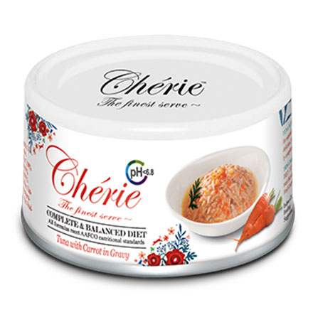 Pettric Cherie Complete & Balanced diet Urinary tract health Tuna mix Carrot in gravy / Беззерновые консервы Петрик для кошек Здоровье мочевыводящих путей Тунец с кусочками моркови в соусе (цена за упаковку)