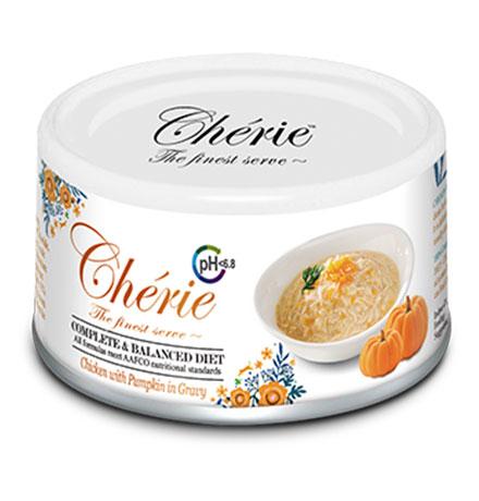 Pettric Cherie Complete & Balanced diet Urinary tract health Chicken mix Pumpkin in gravy / Беззерновые консервы Петрик для кошек Здоровье мочевыводящих путей Курица с кусочками тыквы в соусе (цена за упаковку)