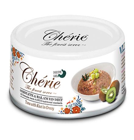 Pettric Cherie Complete & Balanced diet Tuna mix Kiwi in gravy / Беззерновые консервы Петрик для кошек Тунец с кусочками киви в соусе (цена за упаковку)