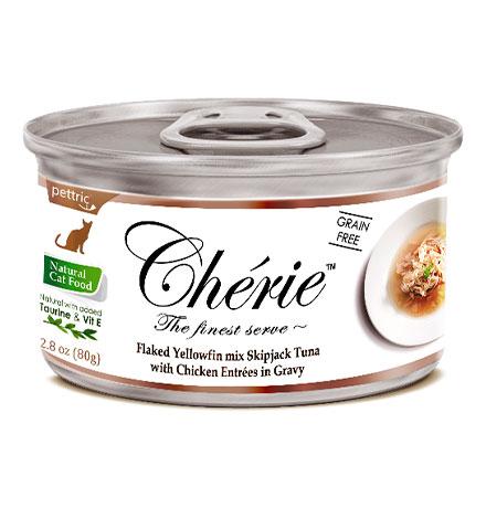 Pettric Cherie Grain free Flaked Yellowfin mix Longtail Tuna & Chicken Entrees in gravy / Беззерновые консервы Петрик для кошек Тунец с курицей в подливе (цена за упаковку)