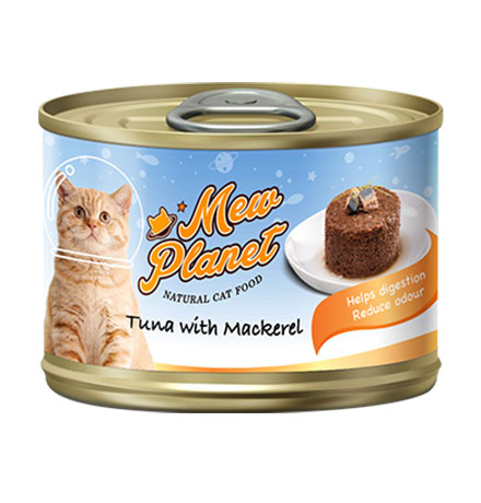 Pettric Mew Planet Tuna topping Mackerel Recipe / Беззерновые консервы Петрик Паштет для кошек свежий Тунец со скумбрией (цена за упаковку)
