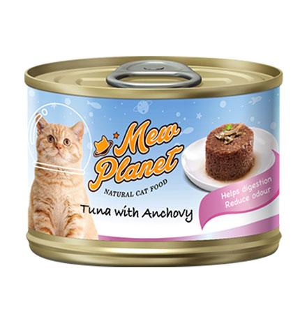 Pettric Mew Planet Tuna topping Anchovy Recipe / Беззерновые консервы Петрик Паштет для кошек свежий Тунец с анчоусом (цена за упаковку)