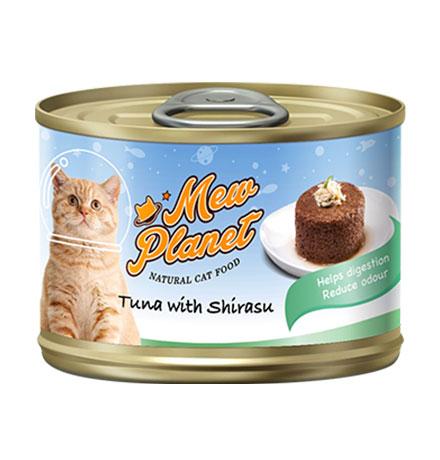 Pettric Mew Planet Tuna topping Shirasu Recipe / Беззерновые консервы Петрик Паштет для кошек свежий Тунец с ширасу (цена за упаковку)