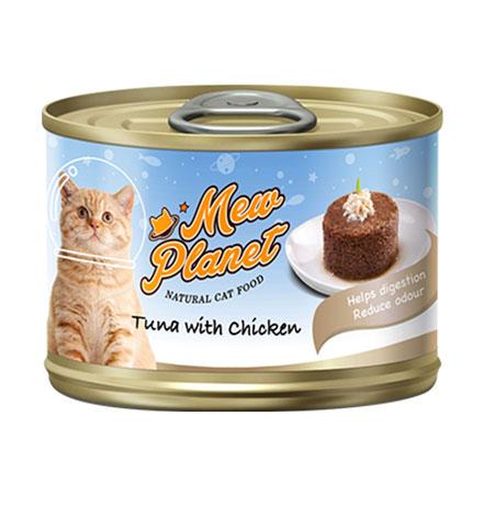 Pettric Mew Planet Tuna topping Chicken Recipe / Беззерновые консервы Петрик Паштет для кошек свежий Тунец с курицей (цена за упаковку)