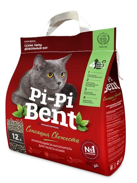 Pi-Pi-Bent Sensation / Наполнитель для кошачьего туалета ПиПиБент Сенсация Свежести Комкующийся