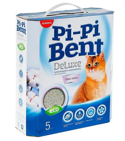 Pi-Pi Bent DeLuxe Clean Cotton / Наполнитель ПиПиБент для кошачьего туалета Комкующийся Чистый хлопок