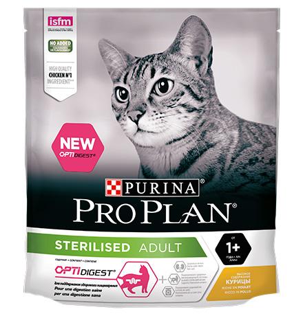 Purina Pro Plan Cat Sterilised Chicken OptiDigest / Сухой корм Пурина Про План для Стерилизованных кошек для Поддержания здорового пищеварения Курица