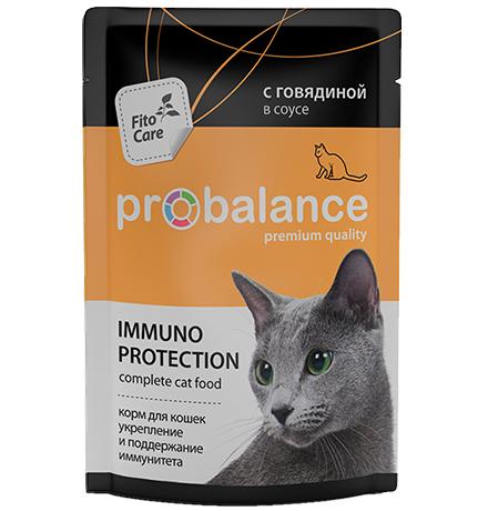 Probalance Immuno Protection / Паучи Пробаланс для кошек с Говядиной в соусе (цена за упаковку)