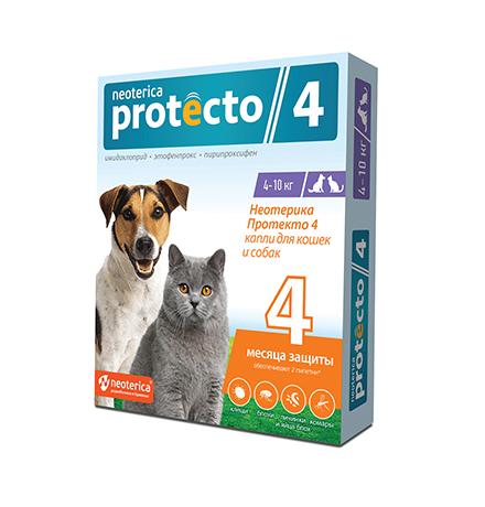Neoterica Protecto 4 / Капли Неотерика Протекто от Клещей и Блох для кошек и собак весом от 4 до 10 кг