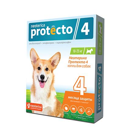 Neoterica Protecto 4 / Капли Неотерика Протекто от Клещей и Блох для собак весом от 10 до 25 кг