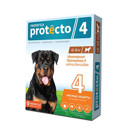 Neoterica Protecto 4 / Капли Неотерика Протекто от Клещей и Блох для собак весом от 40 до 60 кг