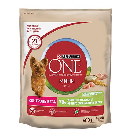 Purina One Dog Мини Здоровый вес / Сухой корм Пурина Уан для собак Мелких пород весом от 1 до 10 кг Индейка рис