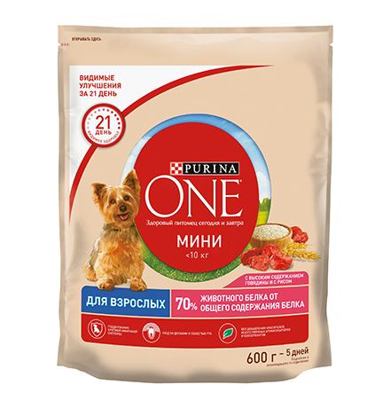 Purina One Dog Мини Взрослая / Сухой корм Пурина Уан для собак Мелких пород весом от 1 до 10 кг Говядина рис