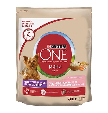 Purina One Dog Мини Чувствительная / Сухой корм Пурина Уан для собак Мелких пород весом от 1 до 10 кг Лосось рис
