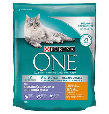 Purina One / Сухой корм Пурина Уан для кошек для Красивой шерсти и Здоровой кожи Курица и цельные злаки