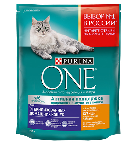 Purina One / Сухой корм Пурина Уан для Стерилизованных Домашних кошек Курица и цельные злаки