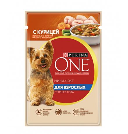 Purina One Dog Мини для Взрослых / Паучи Пурина Уан для собак Мелких пород Курица Морковь и Зеленая Фасоль в подливе (цена за упаковку)