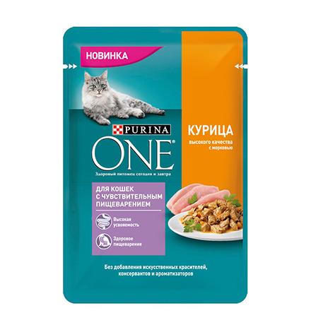 Purina One / Паучи Пурина Уан для кошек с Чувствительным пищеварением Курица (цена за упаковку)