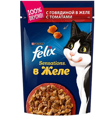 Felix Sensations / Феликс Сенсейшенс Паучи в желе с Говядиной и Томатами (цена за упаковку)
