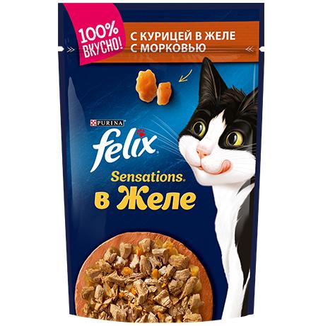 Felix Sensations / Феликс Сенсейшенс Паучи в желе с Курицей и Морковью (цена за упаковку)