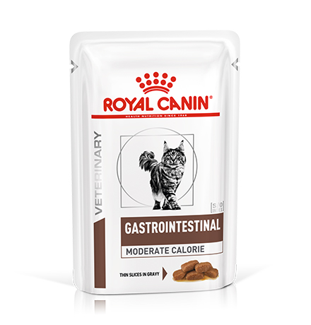 Royal Canin Gastrointestinal Moderate Calorie / Ветеринарный влажный корм (Консервы-Паучи) Роял Канин Гастроинтестинал Модерэйт Калори для кошек Нарушения пищеварения Низкокалорийный (цена за упаковку)