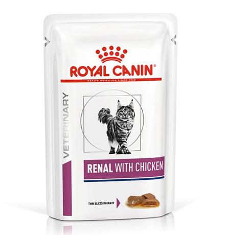 Royal Canin Renal with Chicken / Ветеринарный влажный корм (Консервы-Паучи) Роял Канин Ренал для кошек Заболевание почек (хроническая почечная недостаточность) с Курицей (цена за упаковку)