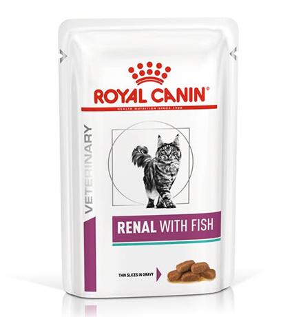 Royal Canin Renal with Fish / Ветеринарный влажный корм (Консервы-Паучи) Роял Канин Ренал для кошек Заболевание почек (хроническая почечная недостаточность) с Рыбой (цена за упаковку)