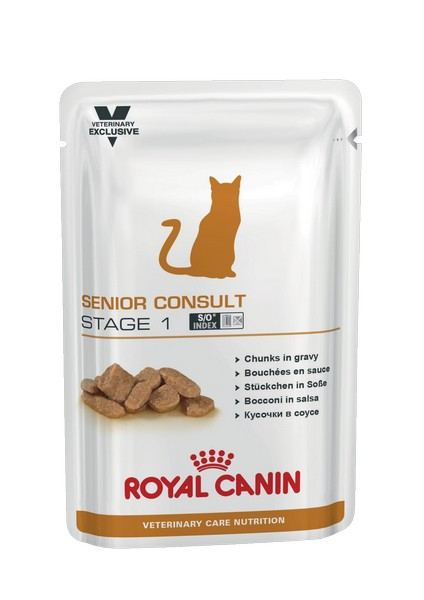 Royal Canin Senior Consult Stage 1 / Ветеринарный влажный корм (Консервы-Паучи) Роял Канин Сеньор Консалт для Пожилых кошек старше 7 лет Стадия 1 (цена за упаковку)