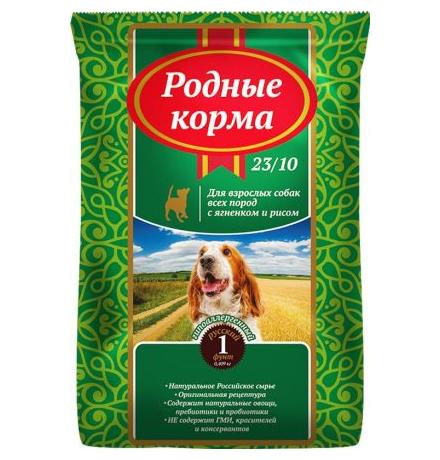 Родные Корма 23-10  / Сухой корм для взрослых собак Ягненок с рисом