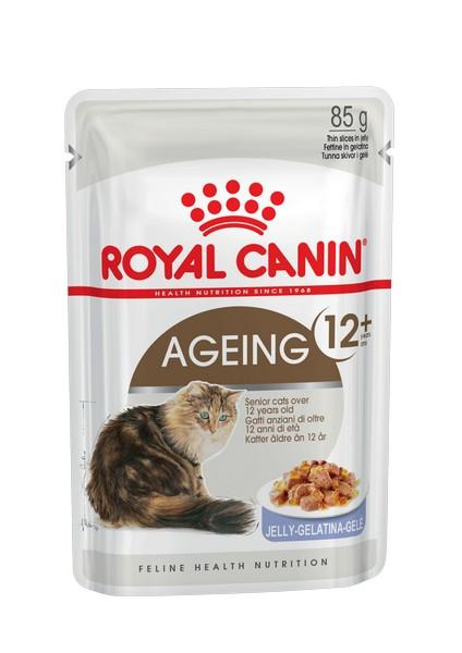 Royal Canin Ageing 12+ Jelly / Влажный корм (Консервы-Паучи) Роял Канин Эйжинг для Пожилых кошек старше 12 лет в Желе (цена за упаковку)