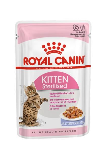 Royal Canin Kitten Sterilised Jelly / Влажный корм (Консервы-Паучи) Роял Канин Киттен Стерилайзд для Стерилизованных Котят в возрасте от 6 до 12 месяцев в Желе (цена за упаковку)