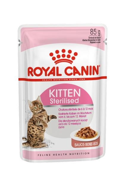 Royal Canin Kitten Sterilised / Влажный корм (Консервы-Паучи) Роял Канин Киттен Стерилайзд для Стерилизованных Котят в возрасте от 6 до 12 месяцев в Соусе (цена за упаковку)