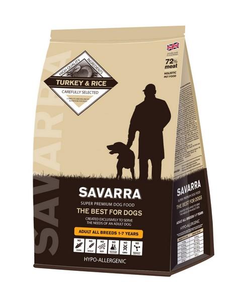 Savarra Adult All Breeds Turkey / Сухой Гипоаллергенный корм Саварра для взрослых собак всех пород Индейка рис